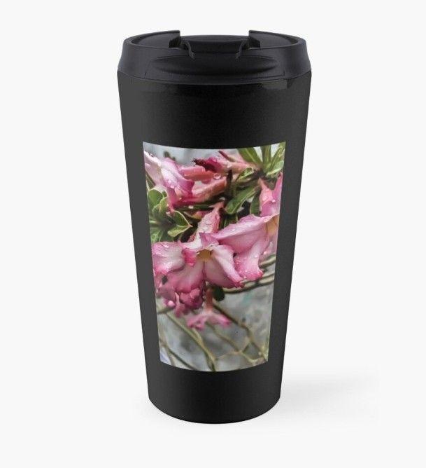 #black #travelmug #amazingdesign #afforadable #raindrops #pinkflower #design #smcreations #getthis @Redbubble