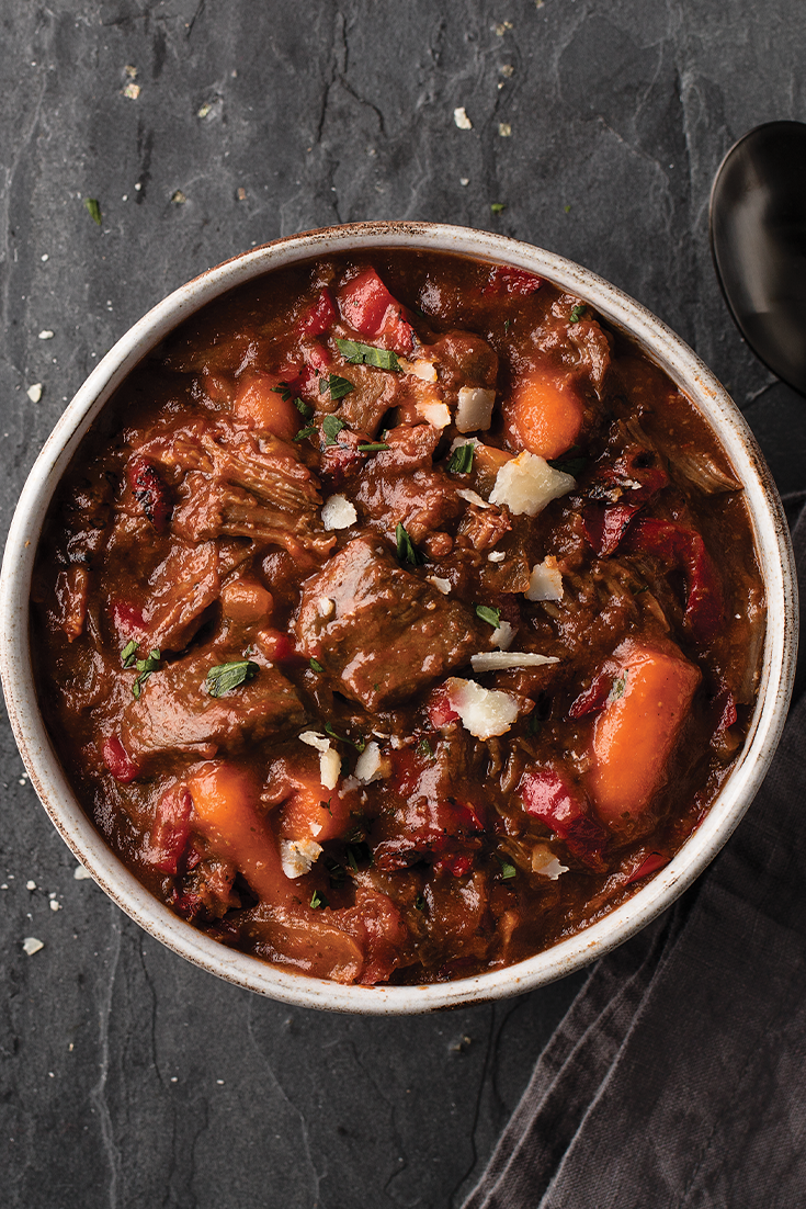 Slow Cooker Meal Italian Red Wine Beef Stew Is An All Included Omaha Steaks Slow Cooker Meal With No Prep Italian Beef Stew Beef Stew Wine Red Wine Beef Stew
