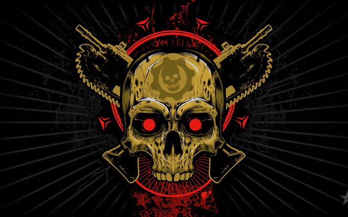 Descargar fondos de pantalla Gears of War, el grunge, el logotipo, el arte, el cráneo