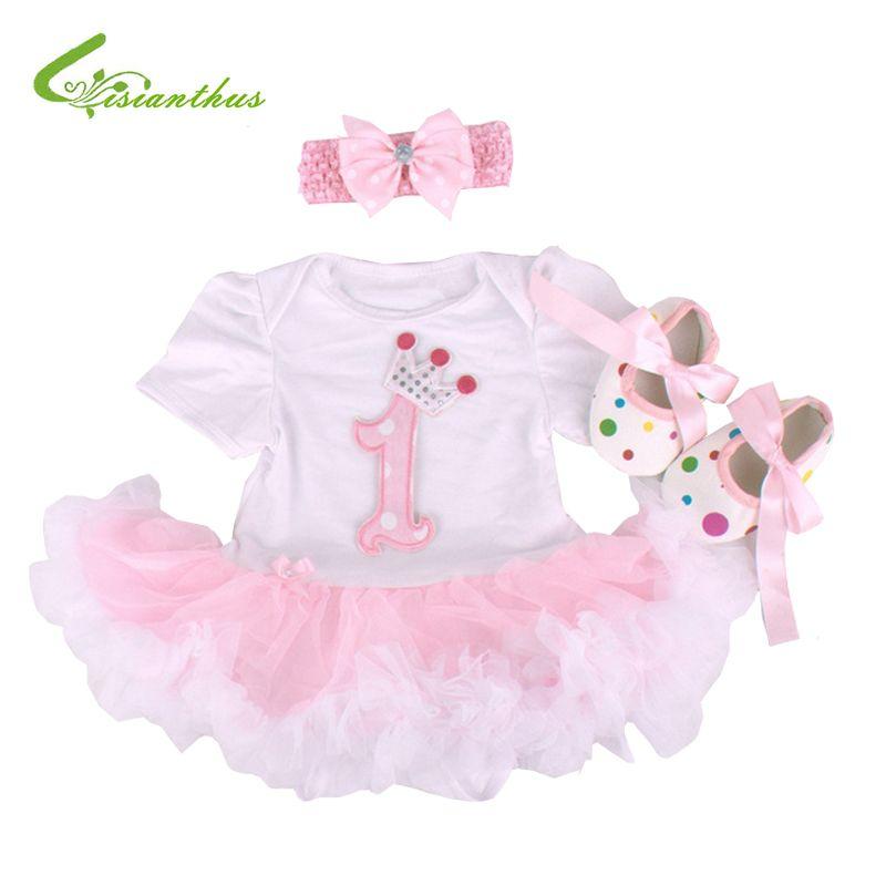 d2b894ba2686c Baby Girls Clothing Sets Romper Dress + Headband + Shoes + Clothing ...