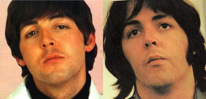 James Paul McCartney on the left and the replacement on the right