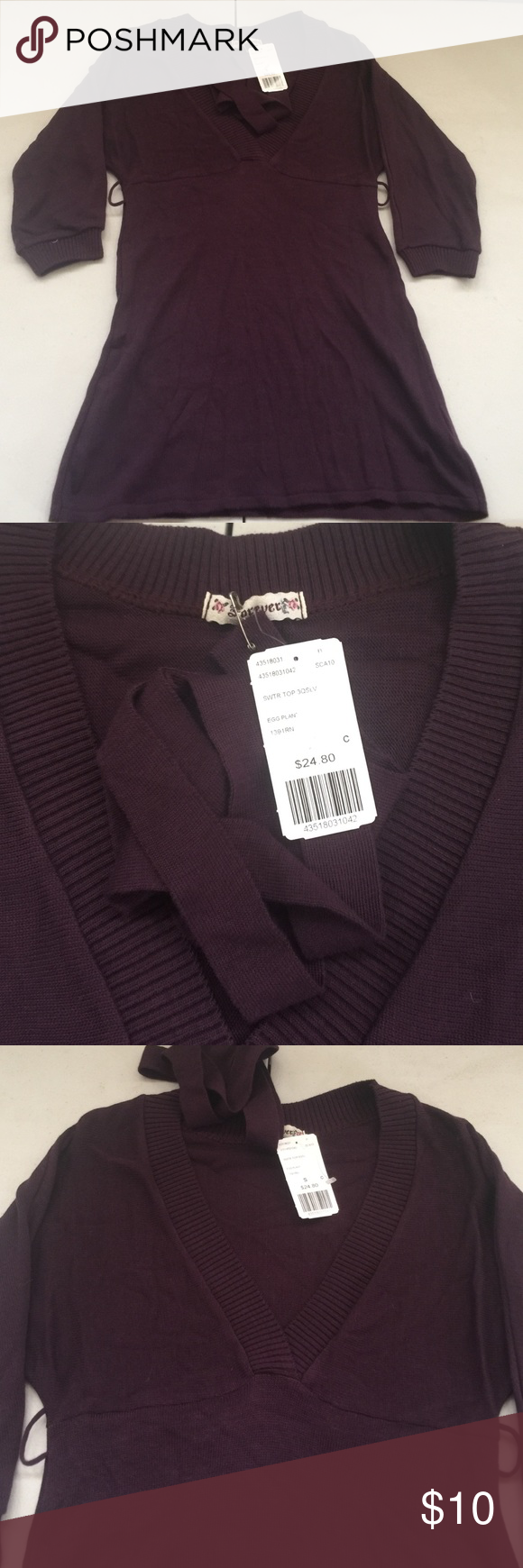 Quarter sleeve purple blouse New with tags 21 Tops Blouses