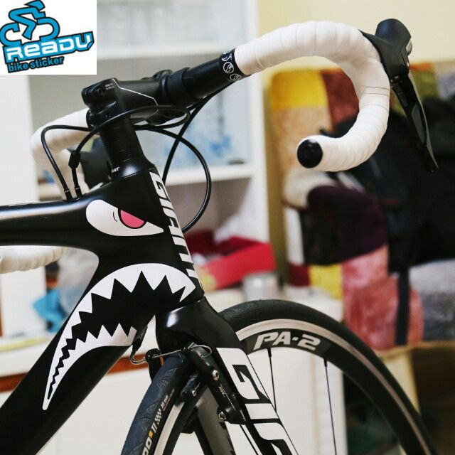 New Arrival Bicycles Decorative Shark Mouth Sticker Top Tube Head