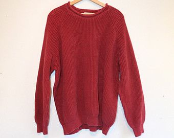 WEEKEND CABIN SWEATER // size mens xx large // 90s // l.l. bean // pullover // knit // red // oversize // vintage!