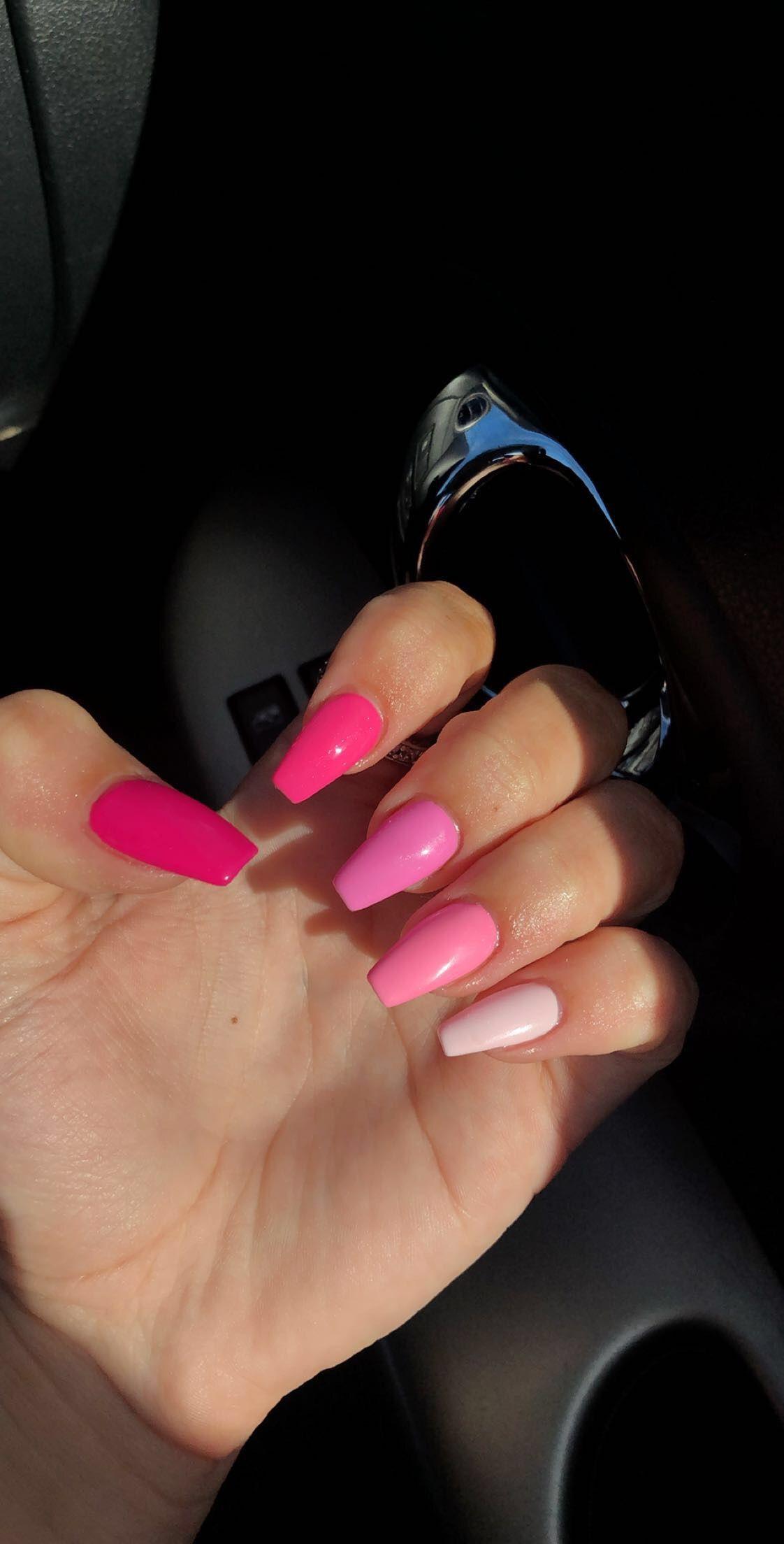 Pink Acrylic Nails Inspo Light Pink Acrylic Nails Pink Acrylic Nails Bright Pink Nails