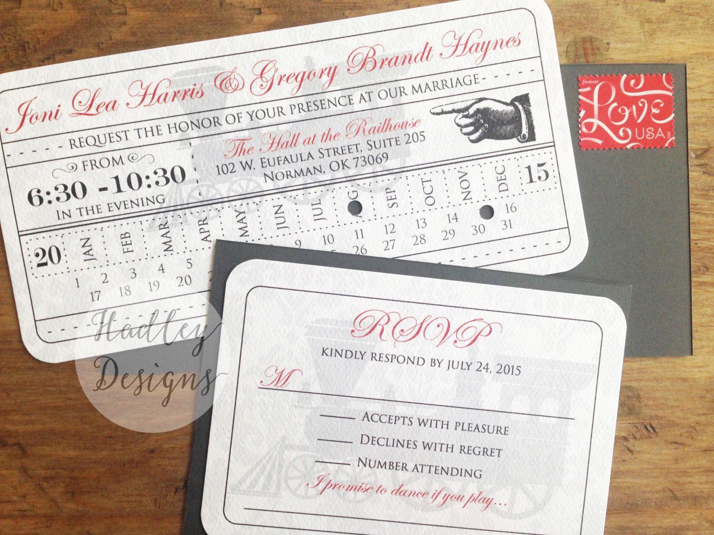 Vintage Train Ticket wedding invitation, Train Ticket Invite, Train ...