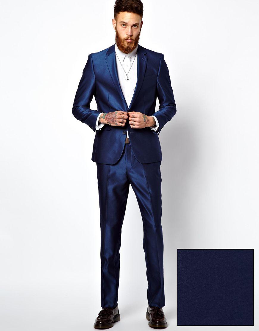 Bright Blue Slim Fit Suit Dress Yy