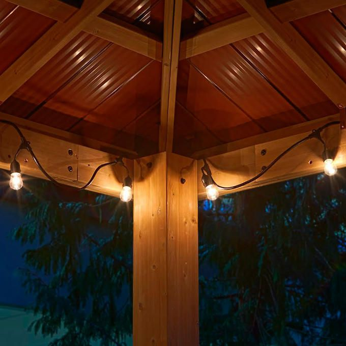 Outdoor String Lights For Gazebo : Cedar Wood 12 x12 Gazebo with Aluminum Roof by Yardistry eBay Summer s Coming ...