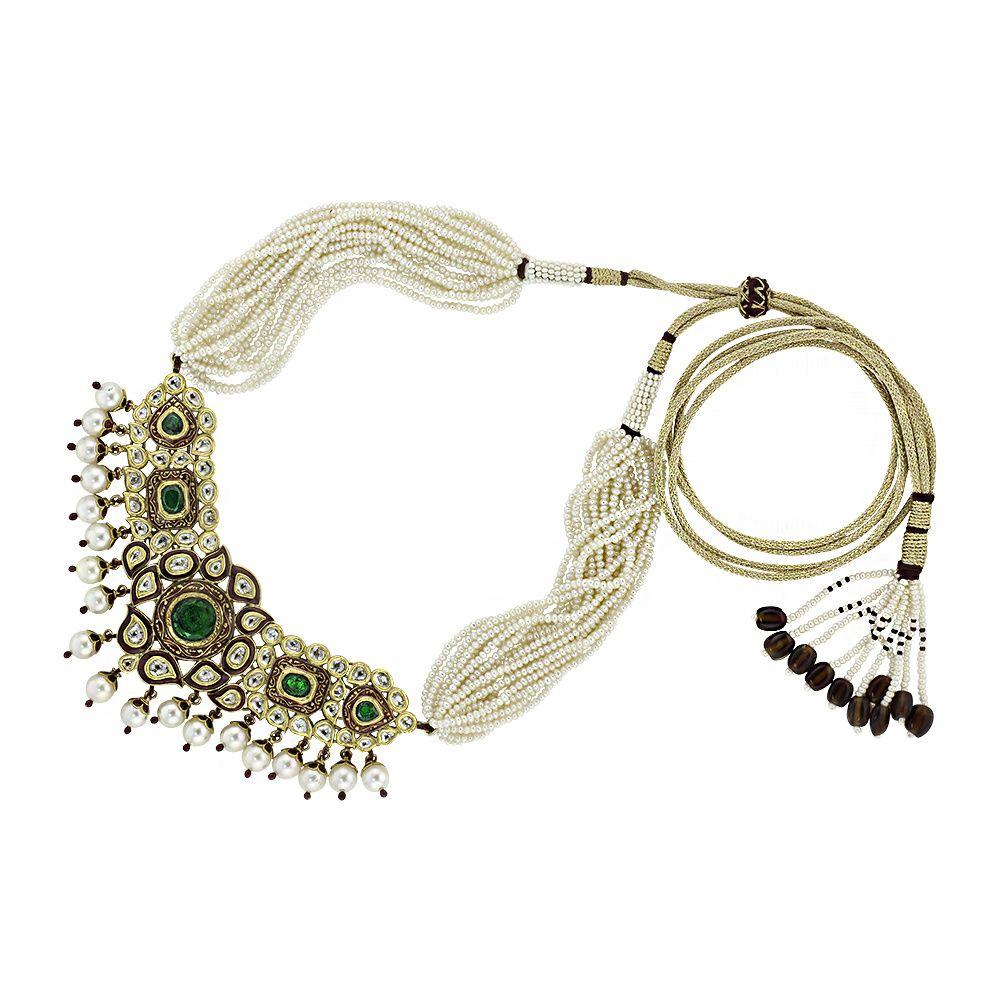 Kundan u emerald necklace set devam jewelry design and fashion