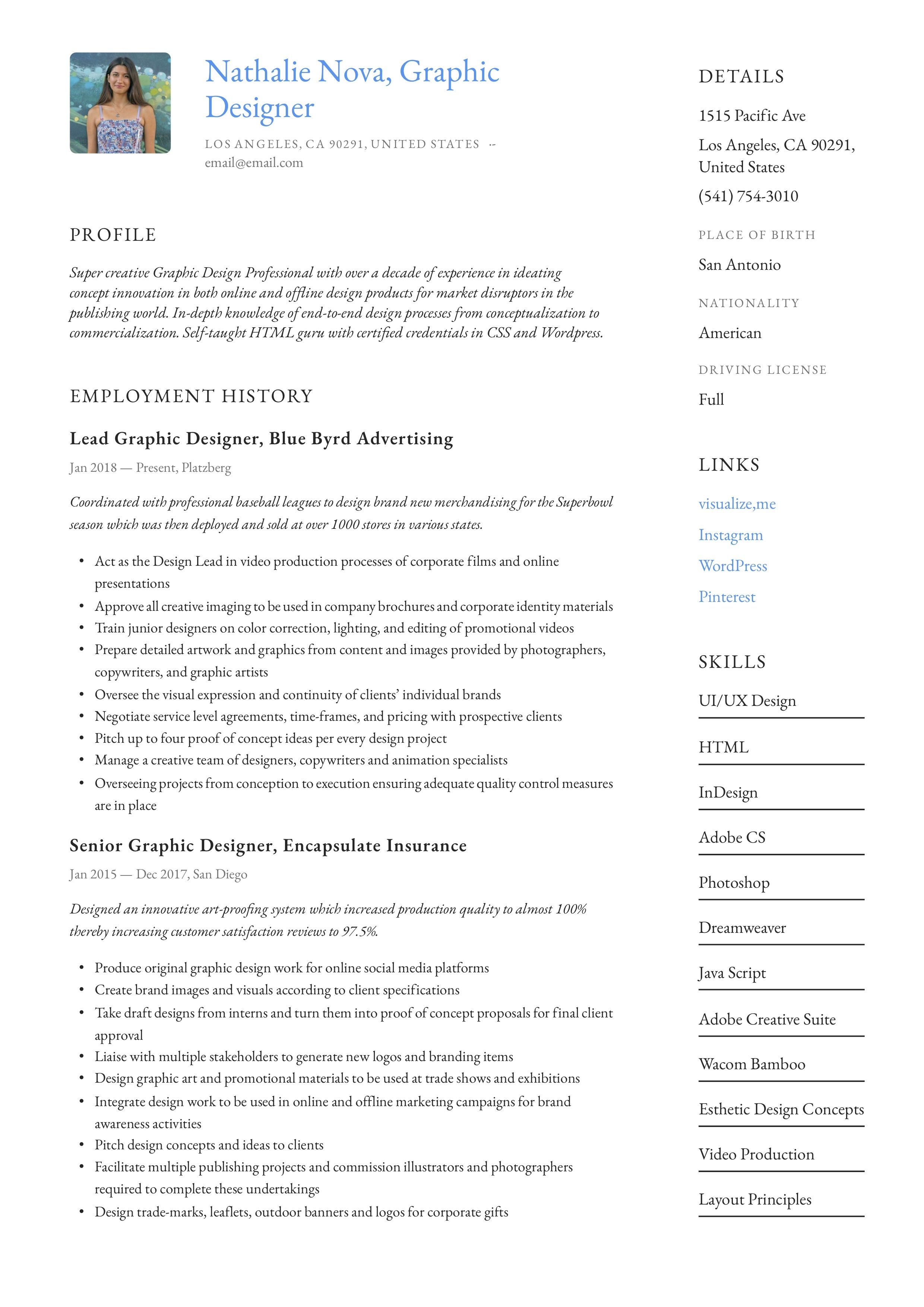 Graphic Designer Resume & Writing Guide in 2020 Resume