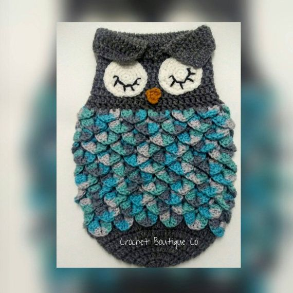 CROCHET PATTERN For Owl Baby Cocoon Papoose & by CrochetBoutiqueCo ...