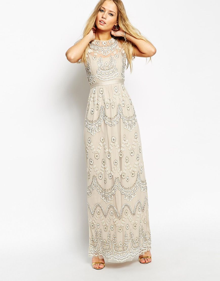 Needle thread embellished tiered petal maxi dress there to see grey bridesmaid dress via asos enlarge needle thread embellished tiered petal maxi dress ombrellifo Images