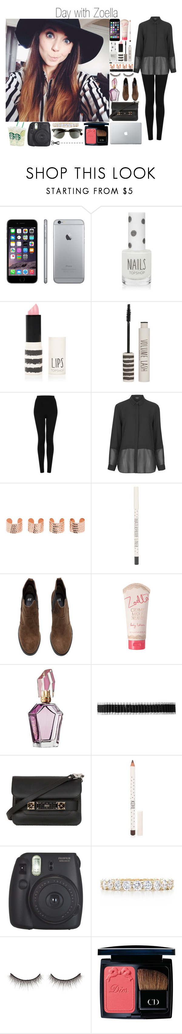 """""""Day with Zoella"""" by sarastyles-362 ❤ liked on Polyvore featuring Topshop, Maison Margiela, H&M, Links of London, Proenza Schouler, Fujifilm, Tiffany & Co., shu uemura, Trianon and Ray-Ban"""