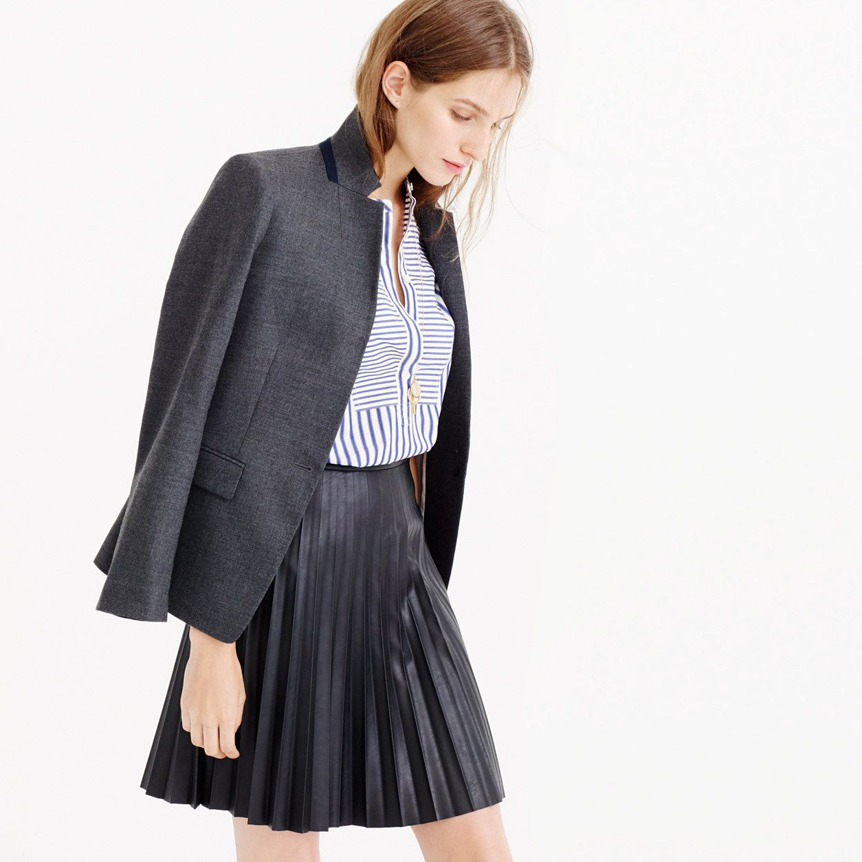 Tall faux leather pleated mini skirt : new arrivals | J.Crew ...