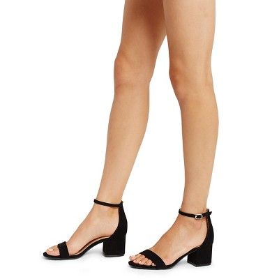 3a40086ce58 Women s Marcella Low Block Heel Pumps with Ankle Straps Merona - Black 5.5
