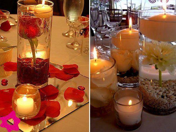 Velas y flores para una boda otoñal fiesta Pinterest Velas, Tu - centros de mesa para boda con velas flotantes