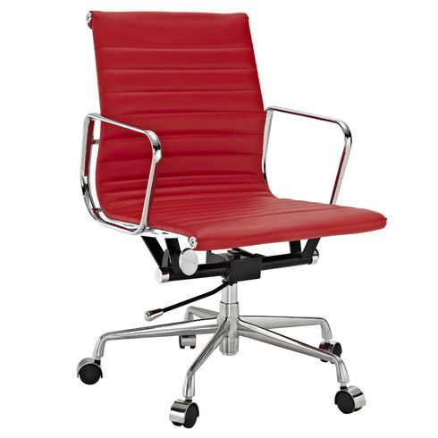Eames Inspired Low Back Office Management Chair Red Leather Leather Office Chair Modern Office Chair Office Chair