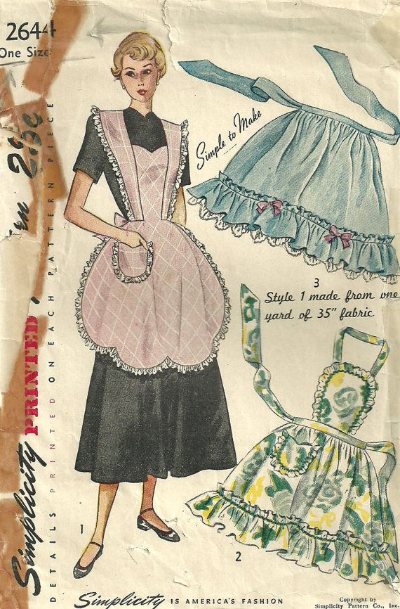 Simplicity 2644 Vintage 40s Sewing Pattern Apron Pinafore | DIY ...