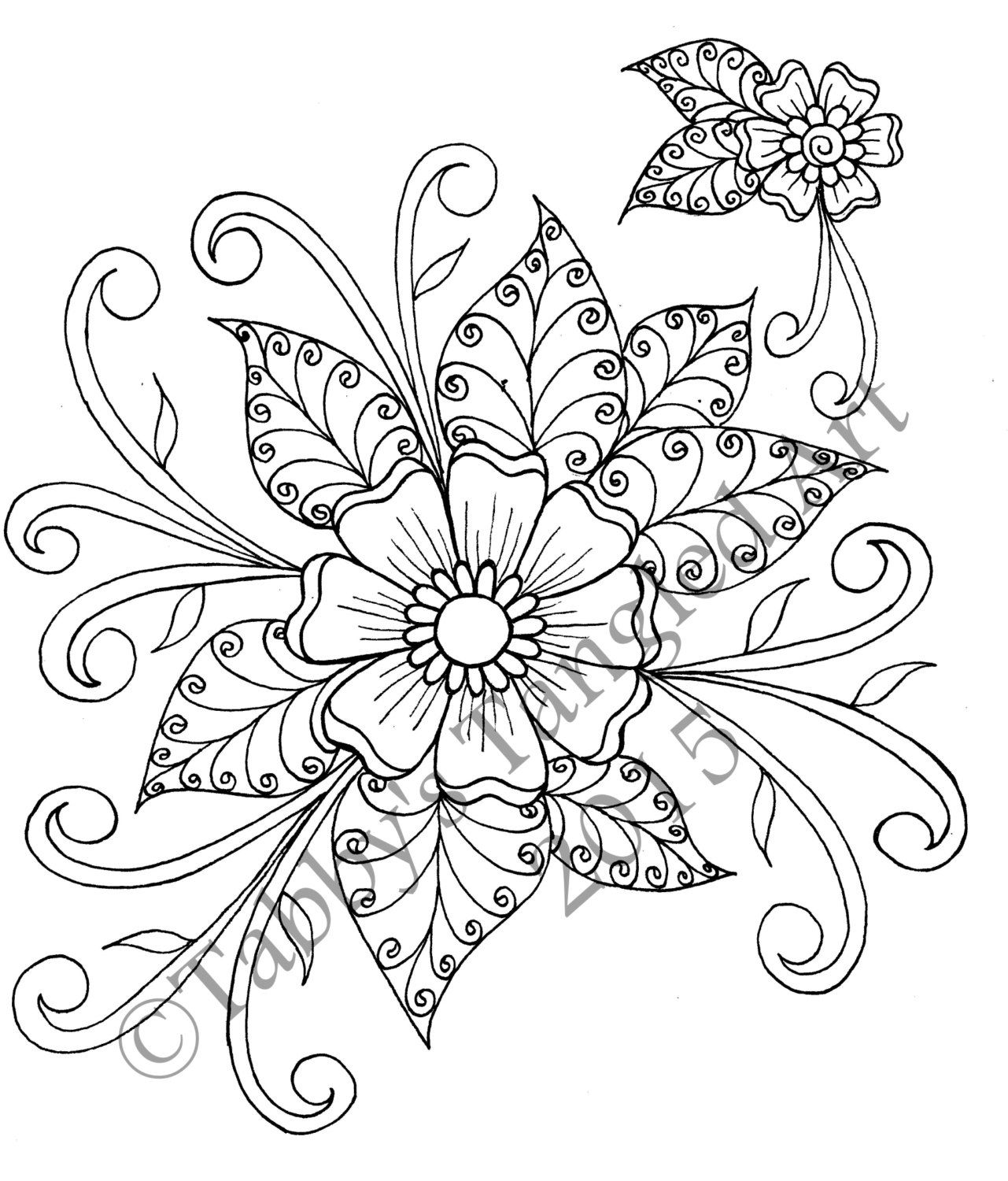 Coloring pages henna - Henna Flower Coloring Page By Tabbystangledart On Etsy Https Www Etsy