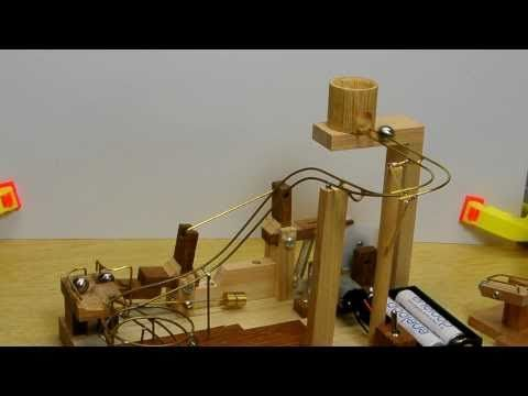 Catapult Marble Machine Marble Machine Rolling Ball Sculpture Wooden Marble Run