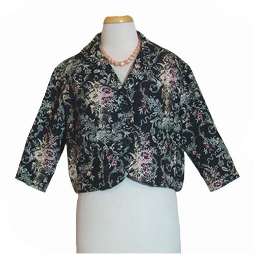Vintage 1960s Black Tapestry Jacquard Cropped Jacket Rayon Cotton Japan  #MadeInJapan #Casual