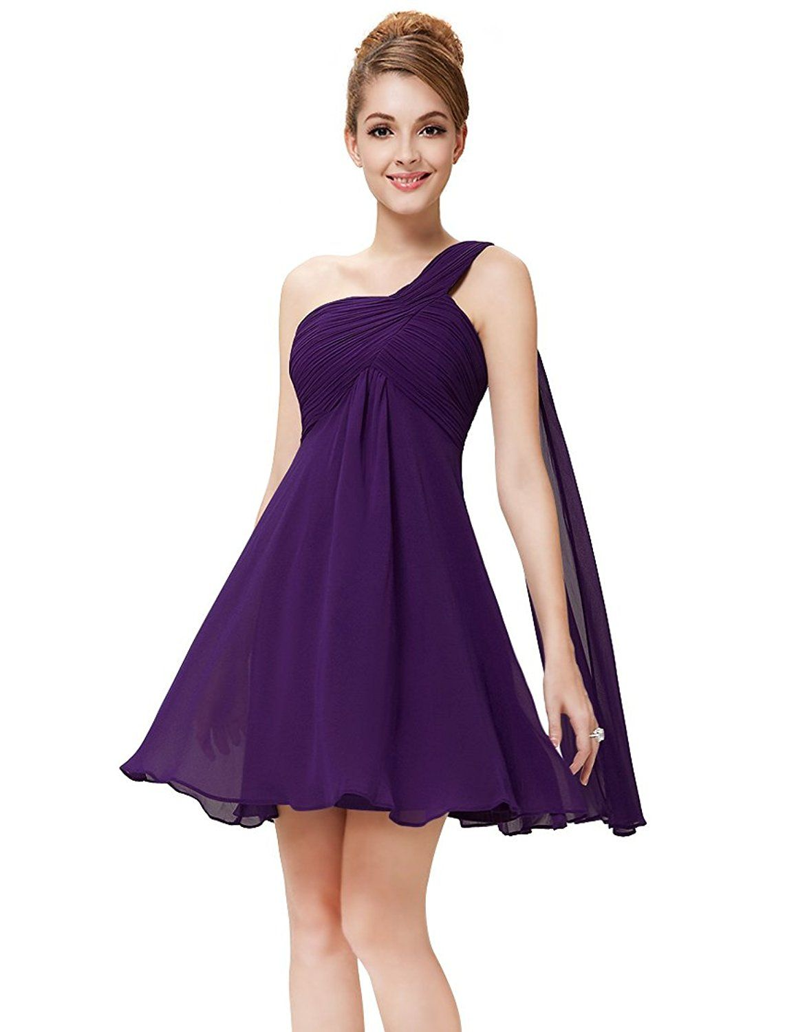 Amazon.com: Ever Pretty One Shoulder Ruched Empire Waist ...