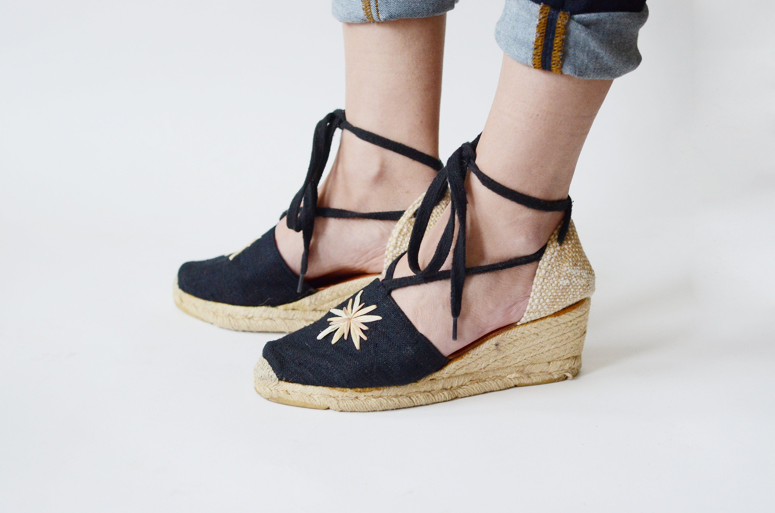 7d09806b3 Andre Assous Black and Tan Wedges - 6.5 | Love Charles Vintage | Tan ...