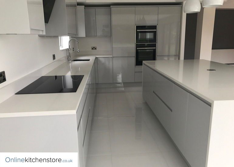 Best Remo Gloss Dove Grey Kitchen With Images Online 400 x 300