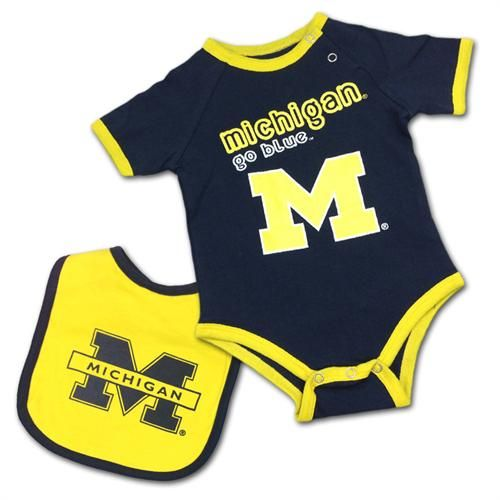Michigan Wolverines Baby Body Suit And Bib Michigan Wolverines
