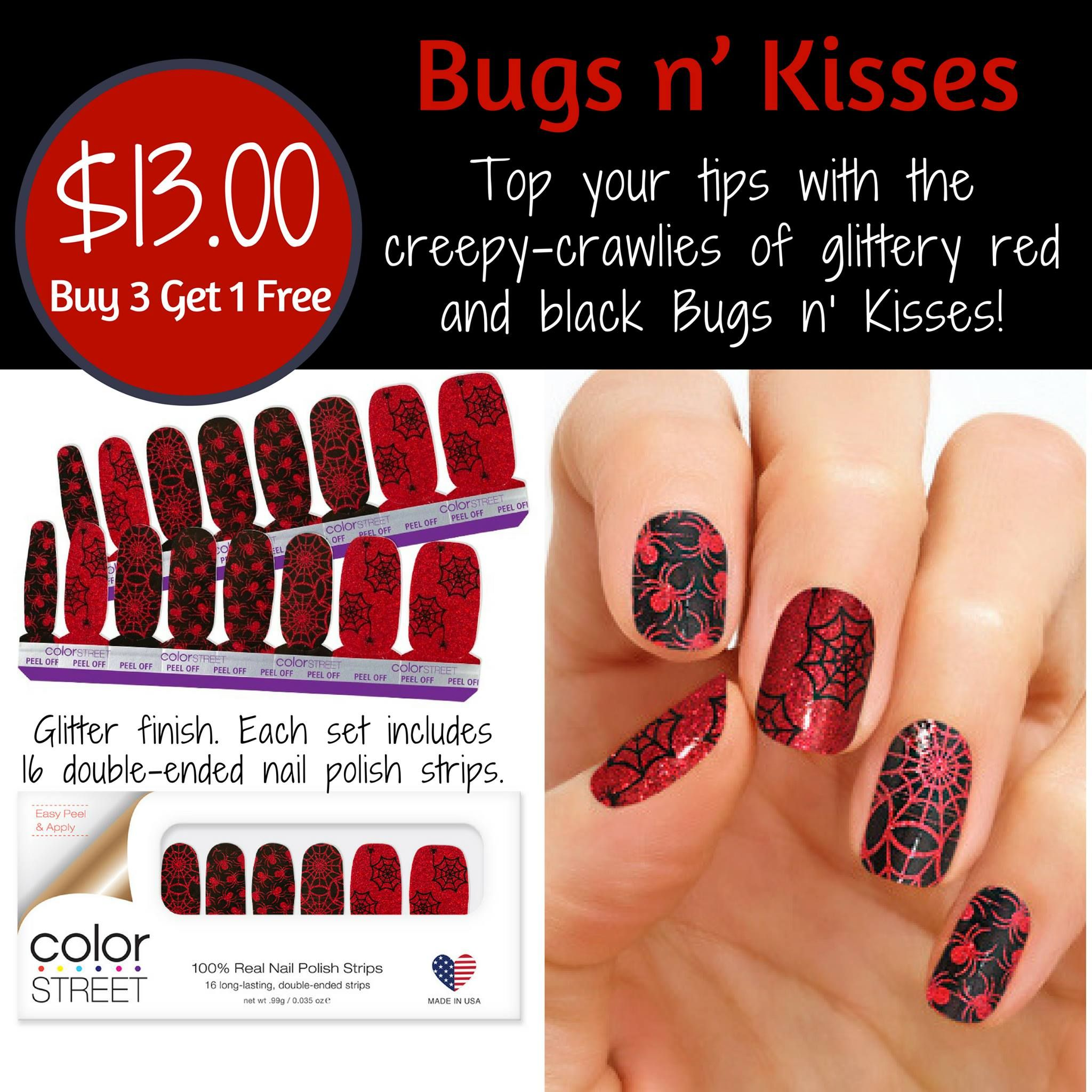 Bugs N Kisses Is One Of Color Street S New Nail Sets From The 2018 Halloween Collection Color Street Halloween Nail Designs Color Street Nails Halloween Nails