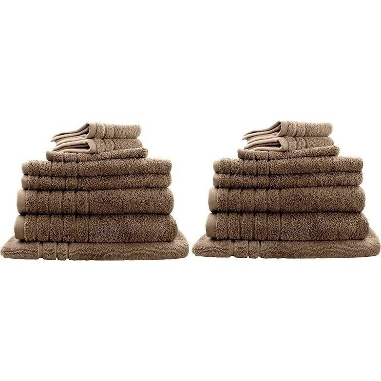 16pc Soft Egyptian Cotton Bath Towel Set In Latte Towel Set