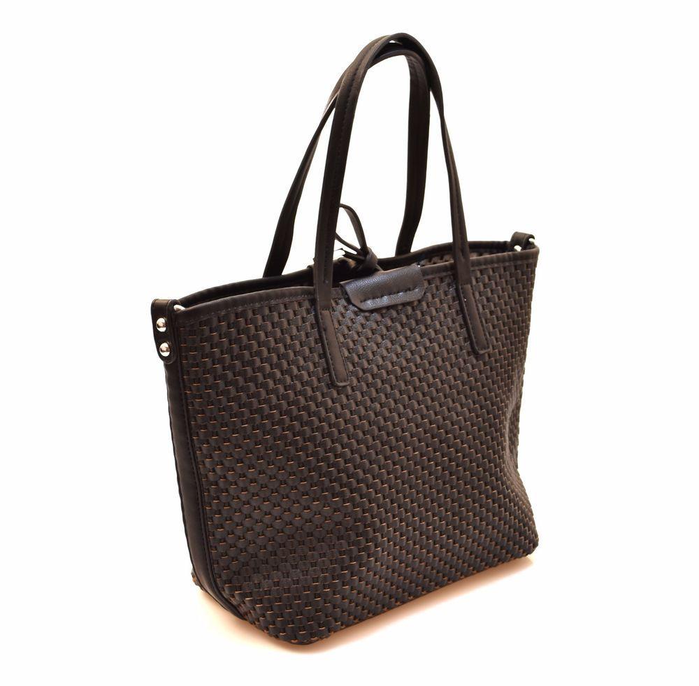 HAND BAG MK144 1 NERO Borsa Mano Treccia Pochette Shopping Donna Estate 2017