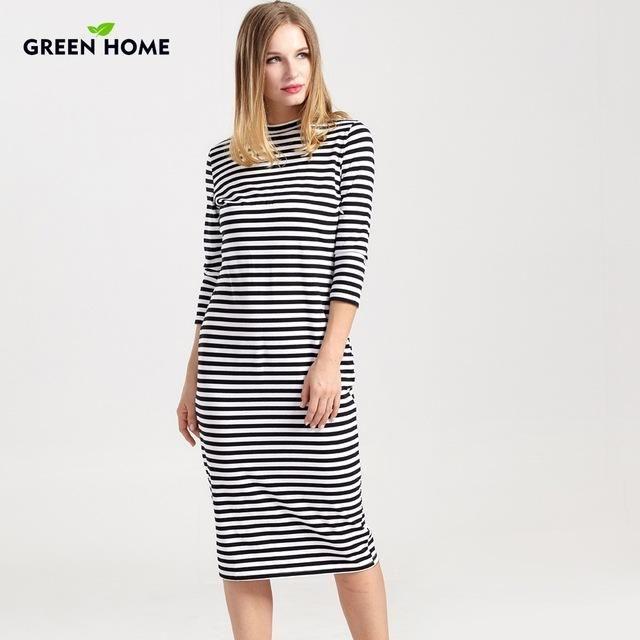 4544b22bdd5f8 Striped Long Sleeve Knee Length Maternity / Nursing Dress | Products ...