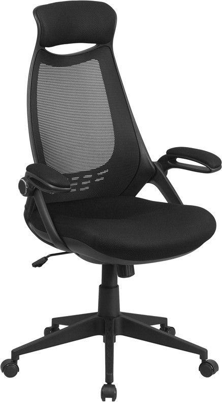 Terrific High Back Black Mesh Executive Swivel Office Chair With Flip Inzonedesignstudio Interior Chair Design Inzonedesignstudiocom