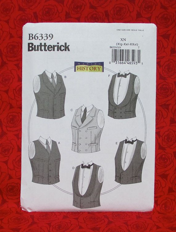 Butterick Sewing Pattern B6339, Men\'s Vests, Formal Waistcoats ...