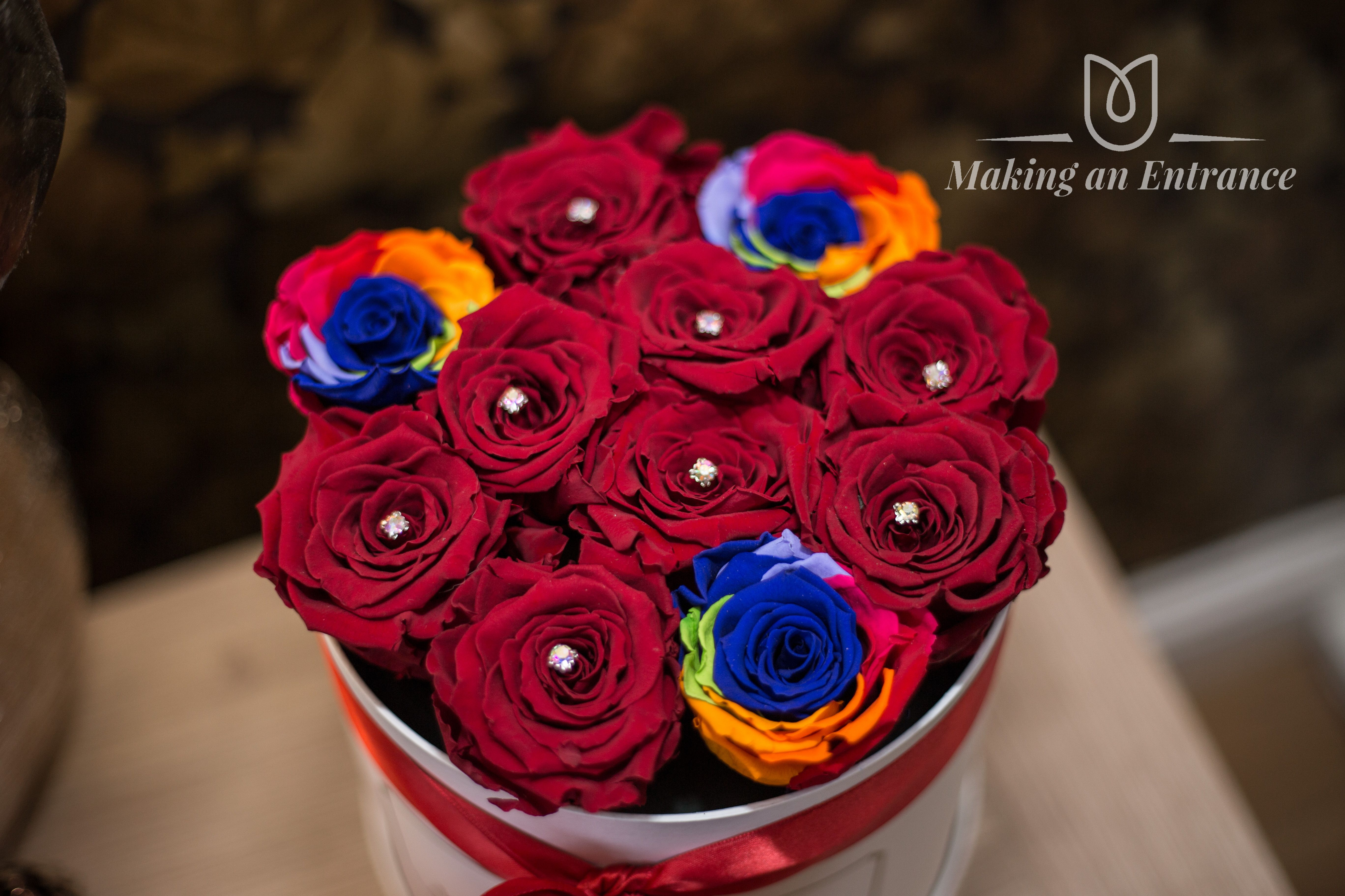 Medium Hat Box With Infinity Forever Red And Rainbow Roses This Type Of Rose Is