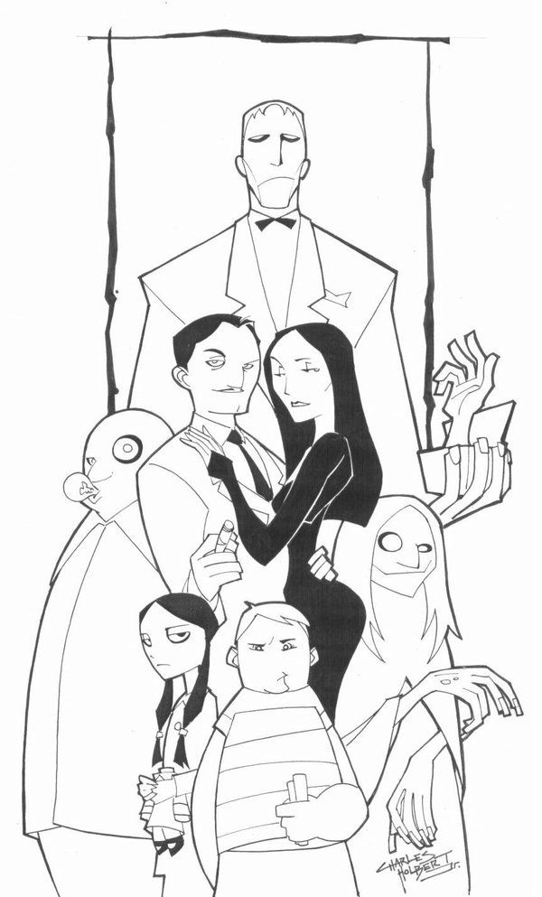 Sketchy The Addams Family By Kidnotorious Deviantart Com Family Sketch Addams Family Poster Addams Family Tattoo