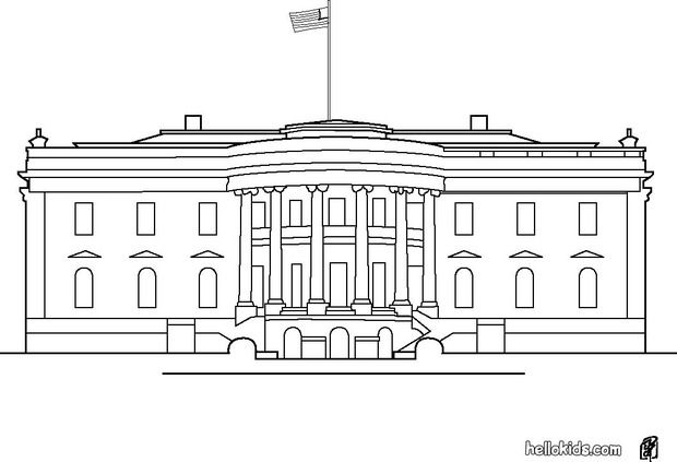 White House Coloring Page White House Simple House Drawing