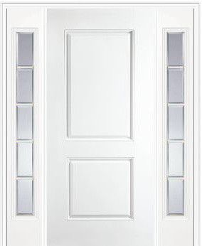 Superior Masonite   Fiberglass 2 Panel Square Top Entry Door With Two Sidelights    Modern   Products