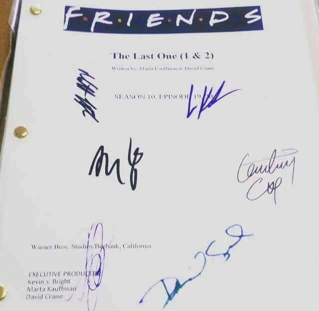 F.R.I.E.N.D.S Script for last season last episode with signature of 6  friends | Friends episodes, Friends moments, Friends tv