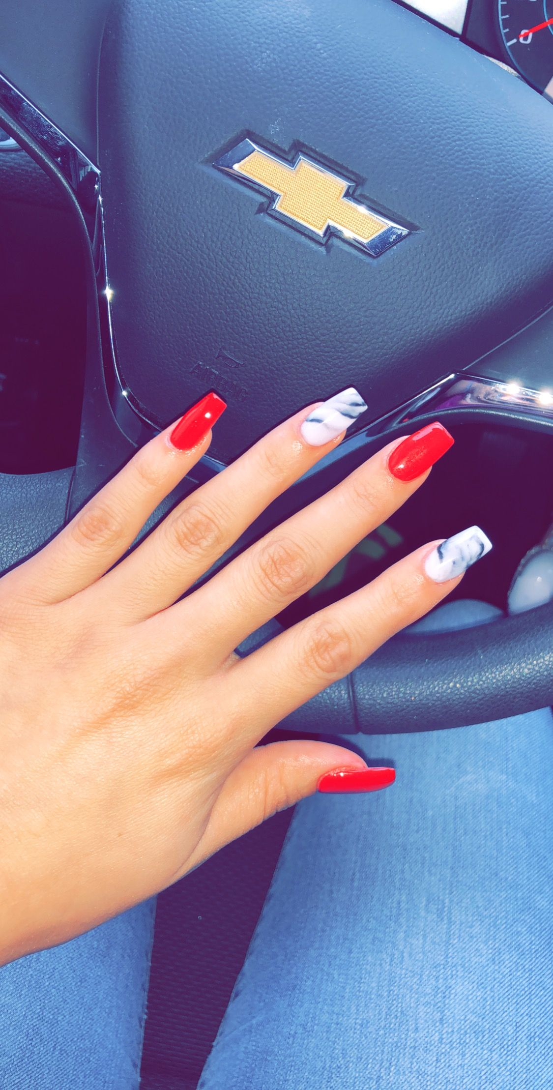Coffin Nails With Dip Powder Red Marble Red Acrylic Nails Birthday Nails Valentines Nails