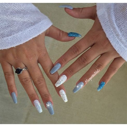 Winter Coffin Nails By Margaritasnailz Coffin Nails Designs Trendy Nails Winter Nails