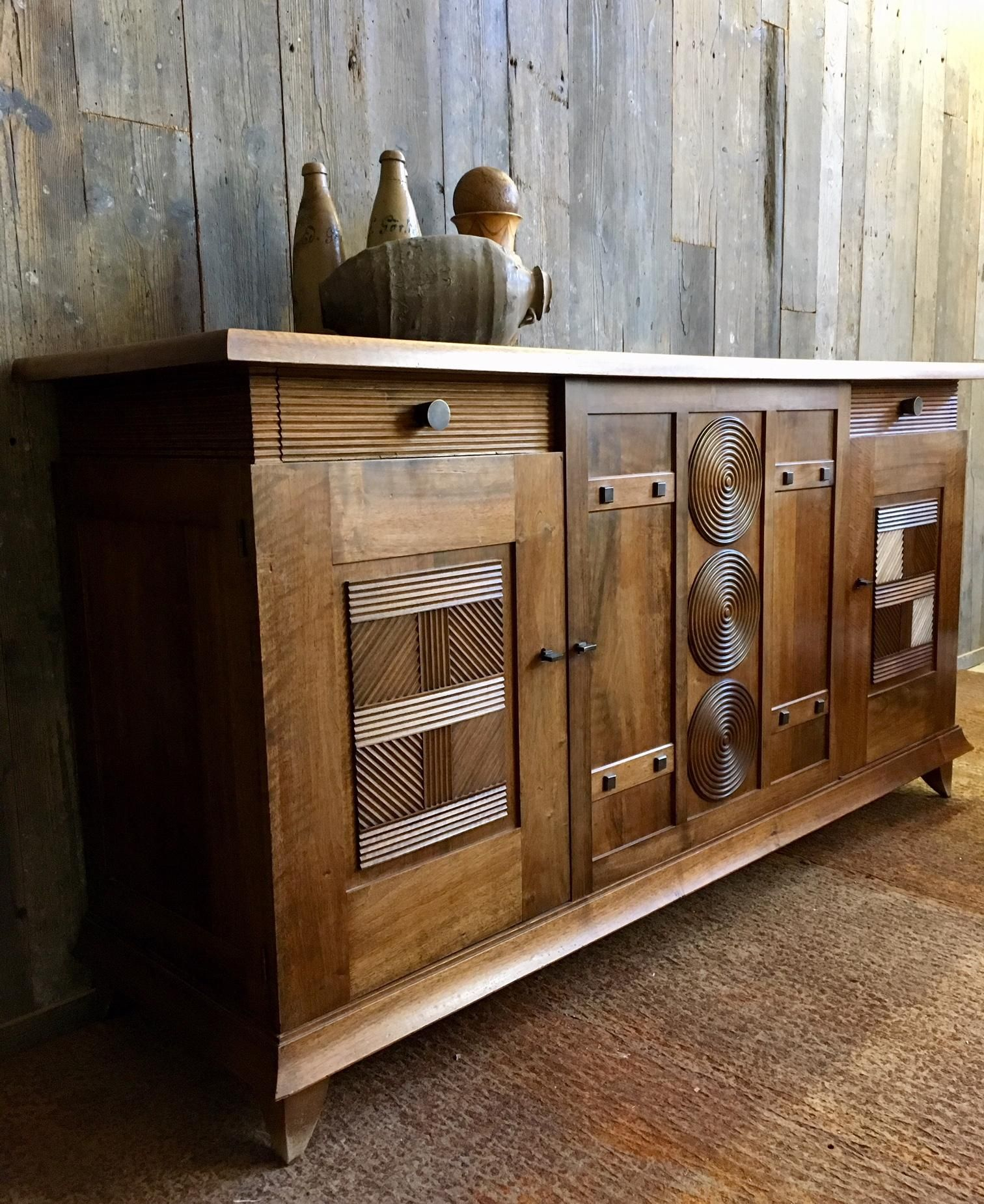 1930s Walnut Design Sideboard By Charles Dudouyt At 1stdibs