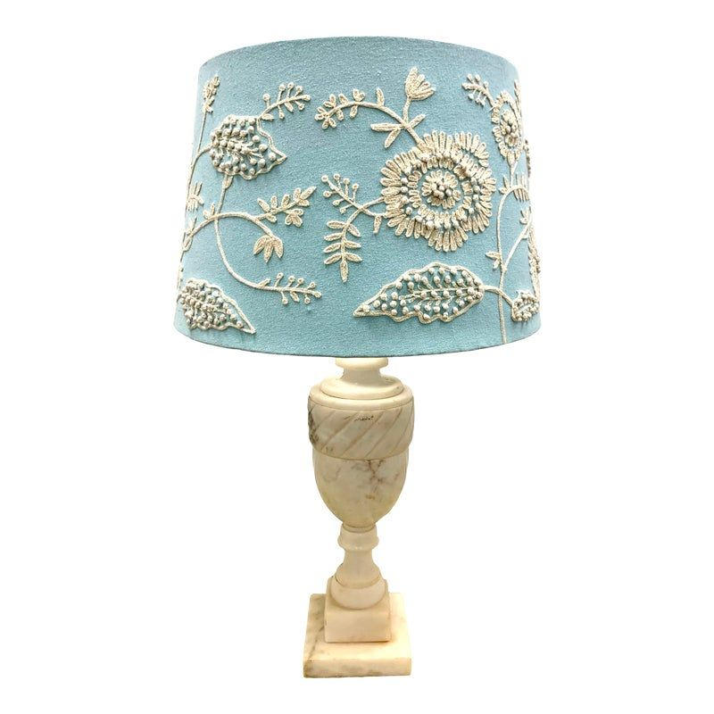 Alabaster Table Lamps with Embroidered