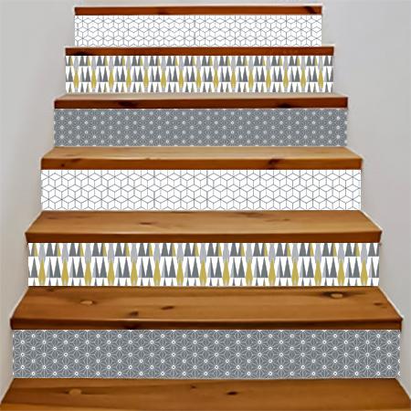 stickers escalier scandinave motif asanoha gris et. Black Bedroom Furniture Sets. Home Design Ideas