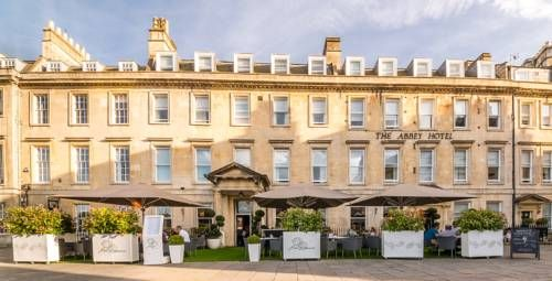 Abbey Hotel Bath The Abbey Hotel is a boutique, independently owned 60-bedroom hotel in the heart of Bath. It is only two minutes' walk from the Roman Baths and Bath Abbey, and five minutes' walk from Bath Spa Railway Station.