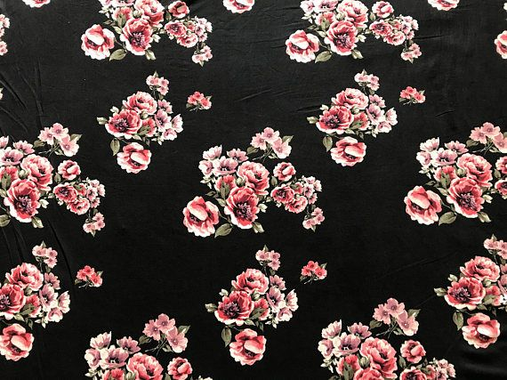 358f0bbd5ab Black and Rose Double Brushed Poly Floral Print By The Yard 60 ...