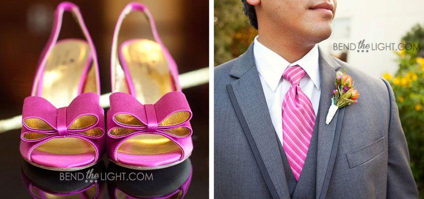 Grey Suit And Pink Tie Hot Wedding Color Scheme