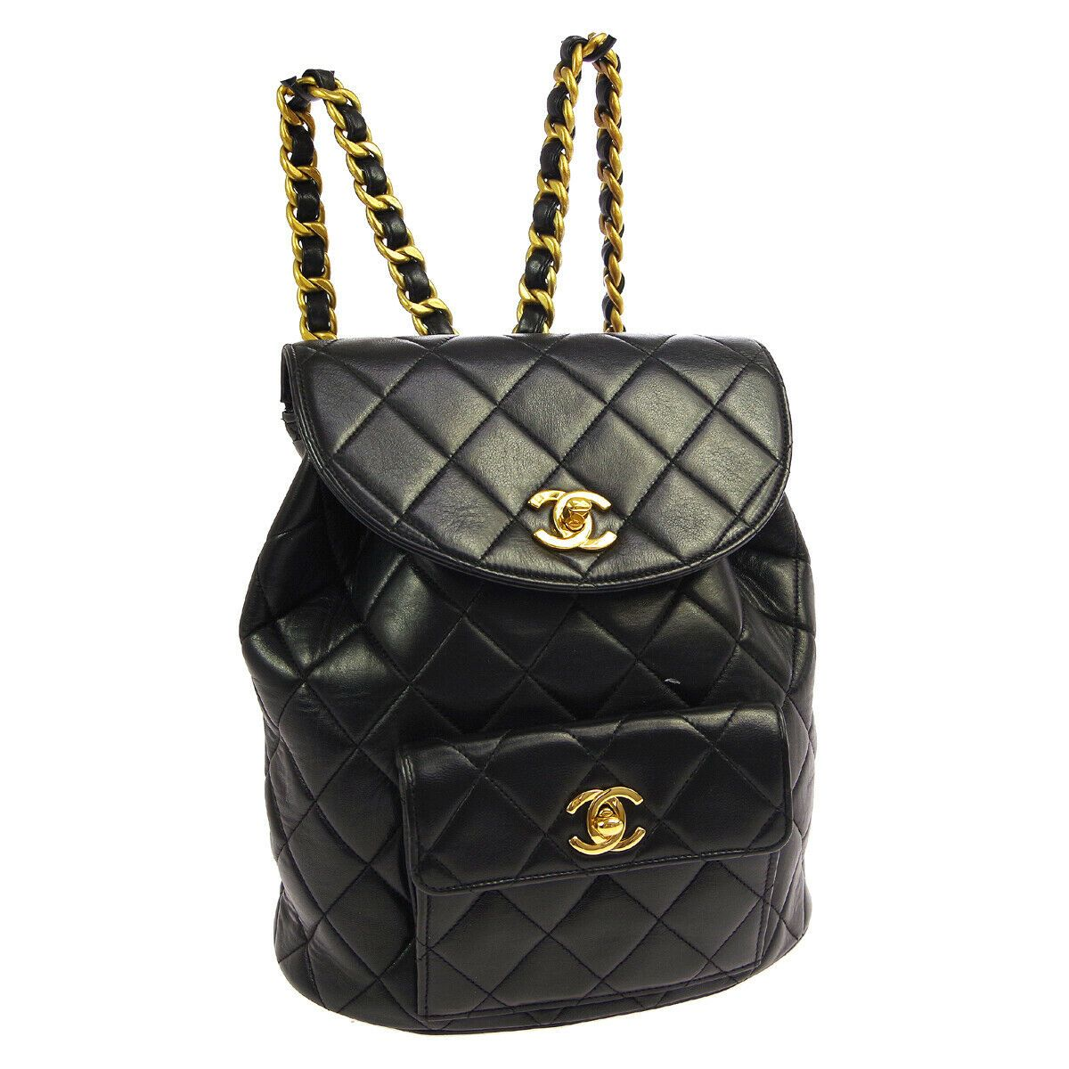 Chanel Quilted Cc Chain Backpack Bag 3992239 Purse Black Leather Vintage Ak40341 Ebay In 2020 Backpack Bags Black Leather Backpacks