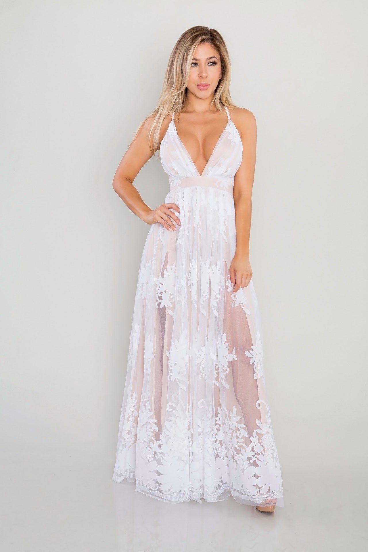 9dddfc9cbe3b2 Floral Mesh Maxi Dress - White | Nedi Nazari | Bridesmaid dresses ...